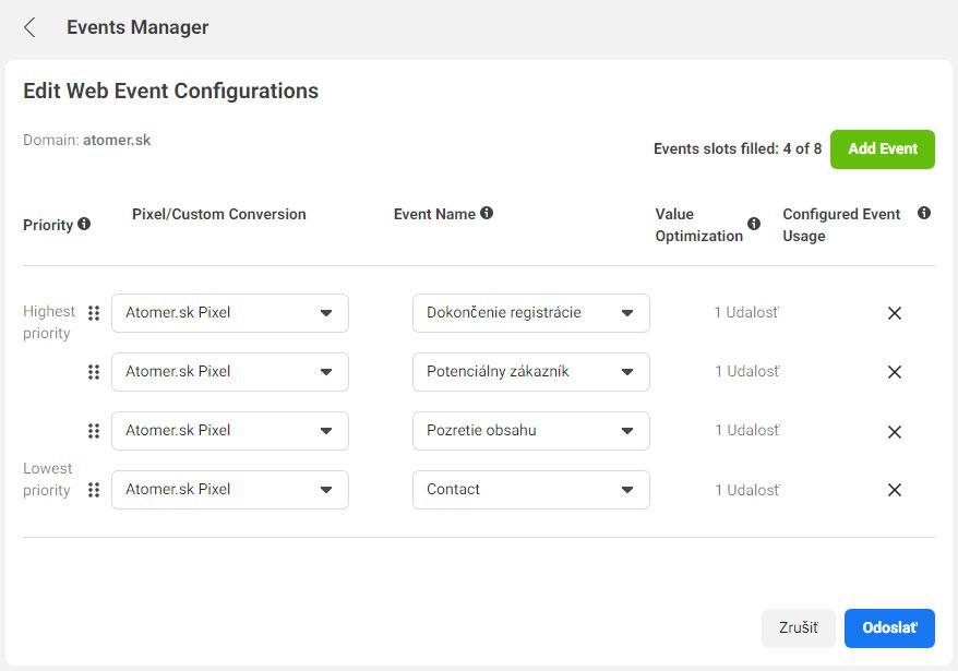 Edit Web Event Configurations