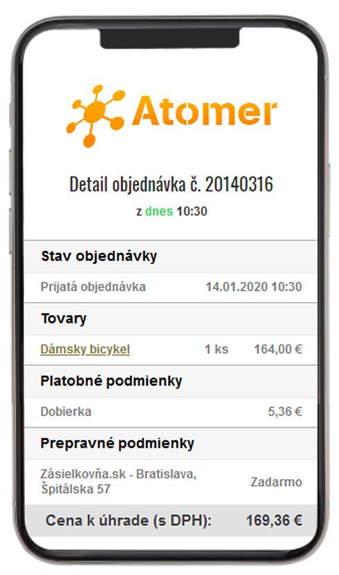 Informácie o objednávke v Atomer systéme z SMS správy