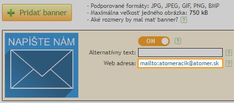 Nastavenie mailto pre bannery v systeme Atomer