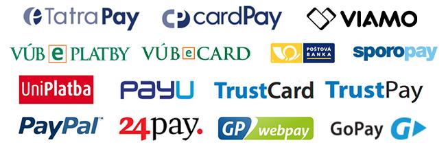 popis obrazku: Ikonky ponúkaných platobných brán