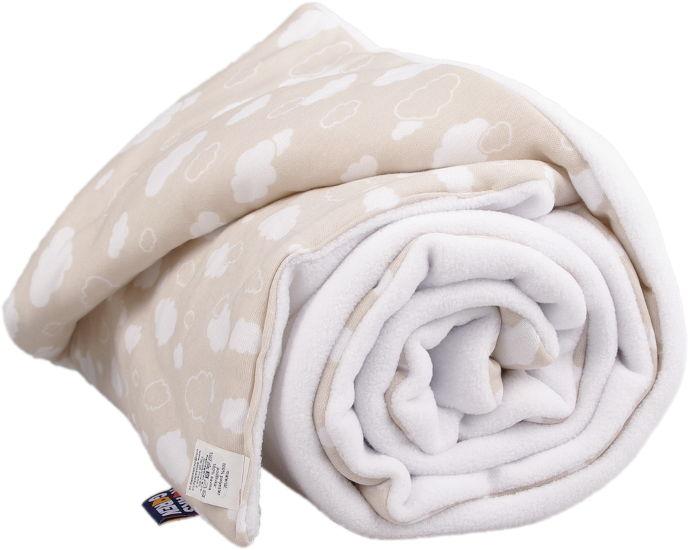 Detská balvnená deka - biela s obláčikmi
