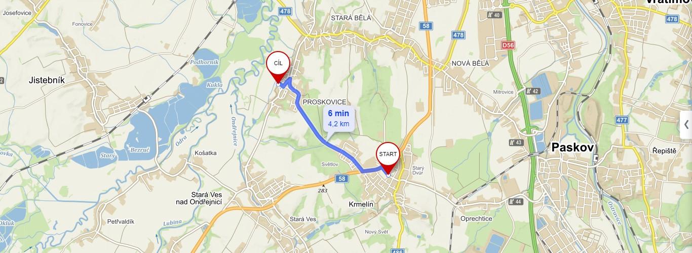 Vzdálenost výdejny Krmelín a Proskovice