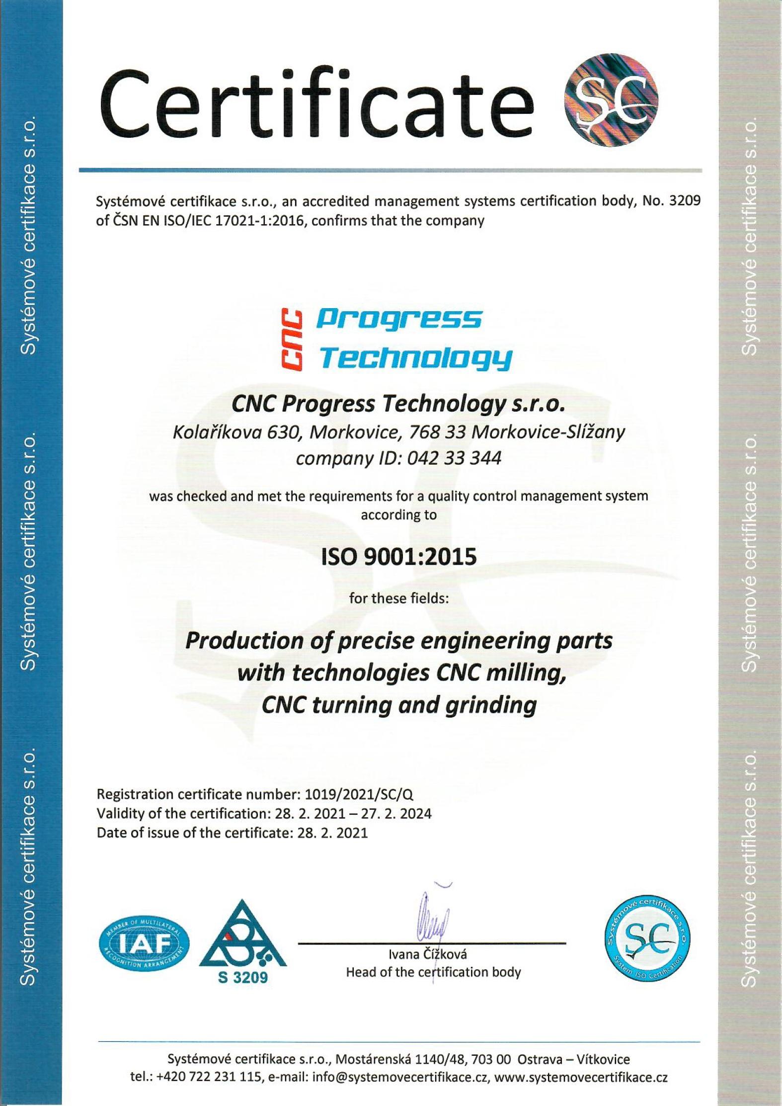 Certifikát AJ