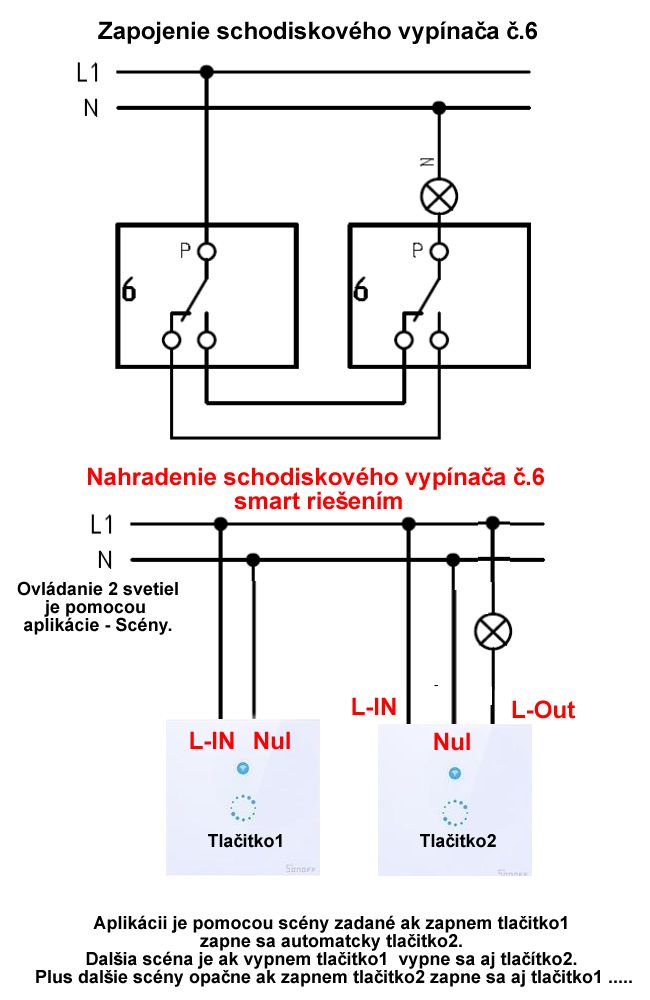ako pripojiť Smart vypínače za vypínače typu č.6 (chodbové vypínače).