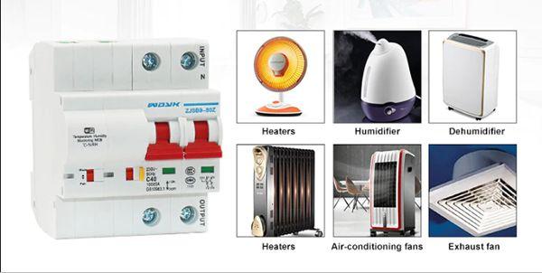WiFi inteligentný Istič 2P 40A Meraním Teploty a Vlhkosti