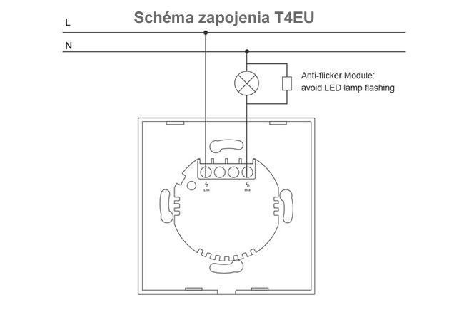 SONOFF T4 EU 1ch bez potreby nulového vodiča