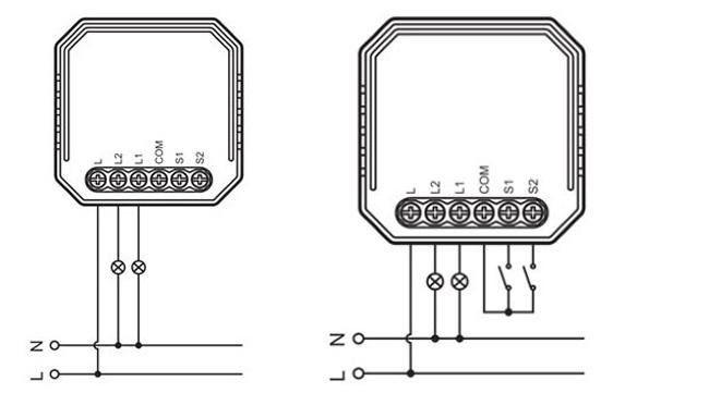 "Mini ZigBee vypínač ""bez nuly"" - 2CH"