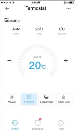 Dotykový WiFi inteligentný LCD Termostat 16A eWelink app