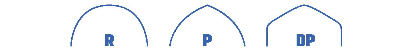 Tvar střechy – R (kulatý oblouk) – P (špičatý oblouk) – DP (svislé stěny)