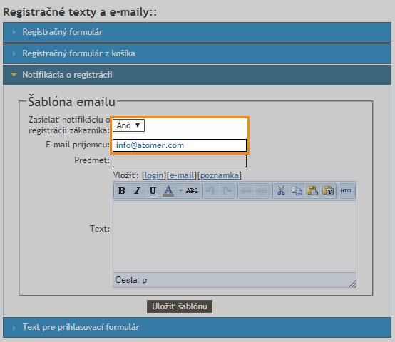 Notifikácia o registrácii